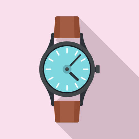 Hand watch icon, flat style