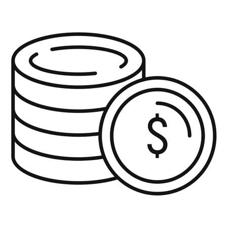 Gold coins icon, outline style