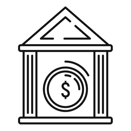 Money coin bank icon, outline style