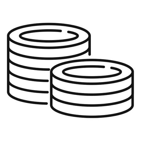 Money coins icon, outline style