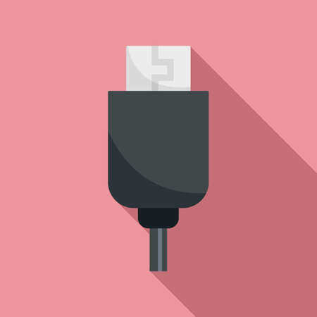 Phone usb cable icon, flat style