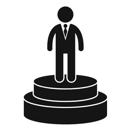 Celebrity actor on podium icon, simple style