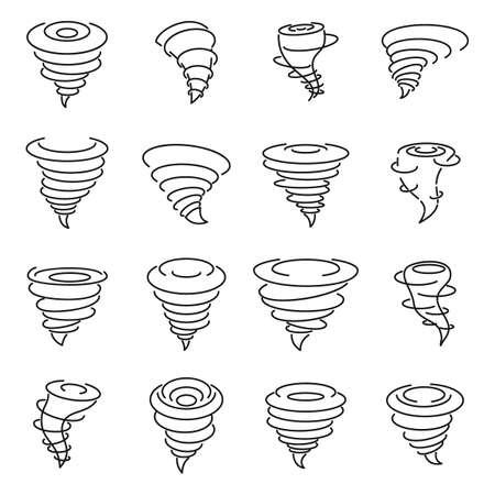 Tornado air icons set, outline style Banque d'images
