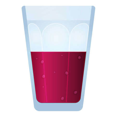 Glass of smoothie icon, cartoon style