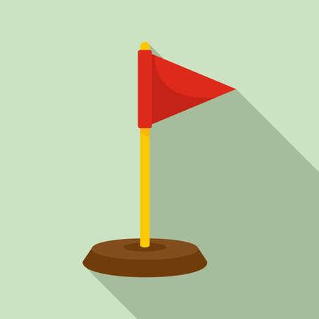 Dog training red flag icon, flat style