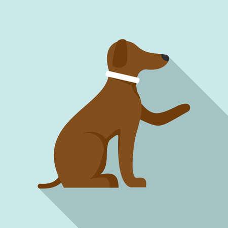 Domestic dog training icon, flat style