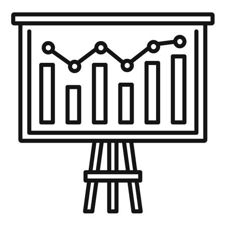 Graph chart banner icon, outline style