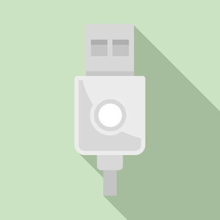 Modern usb cable icon, flat style