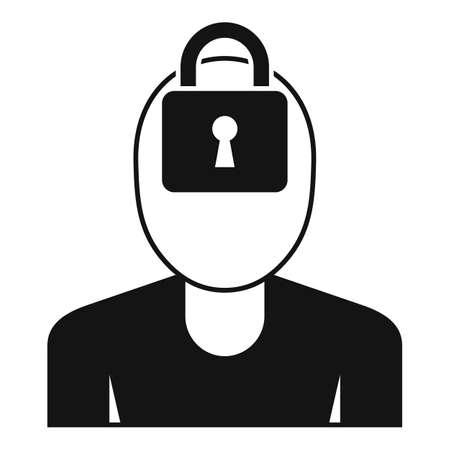 Mental person lock icon, simple style