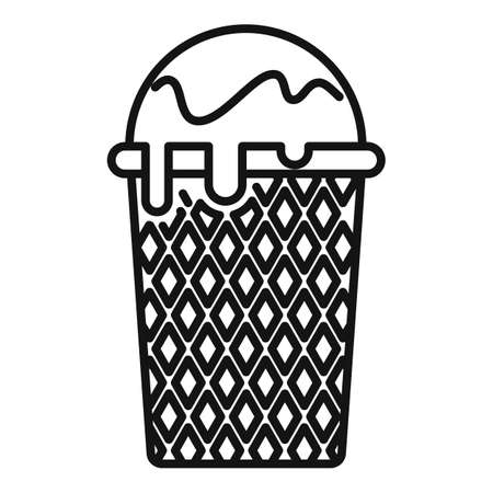 Striped ice cream icon, outline style