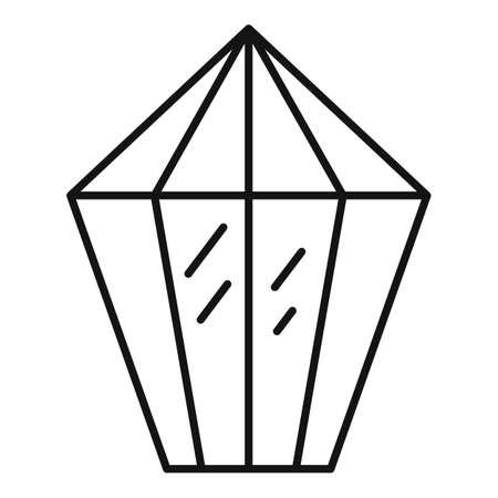 Carat jewel icon, outline style