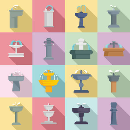 Drinking fountain icons set, flat style