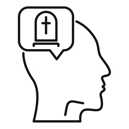 Think about death icon, outline style