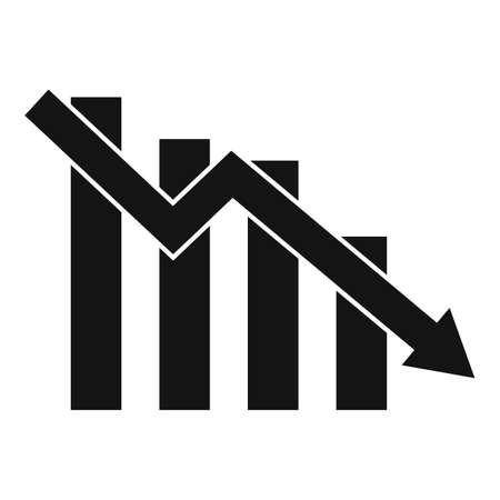 Down finance chart icon, simple style