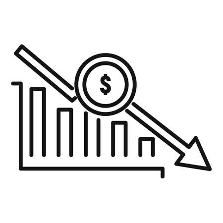 Bankrupt chart icon, outline style