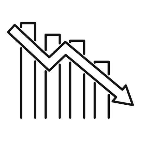 Down finance chart icon, outline style
