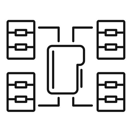 File folder network access icon, outline style