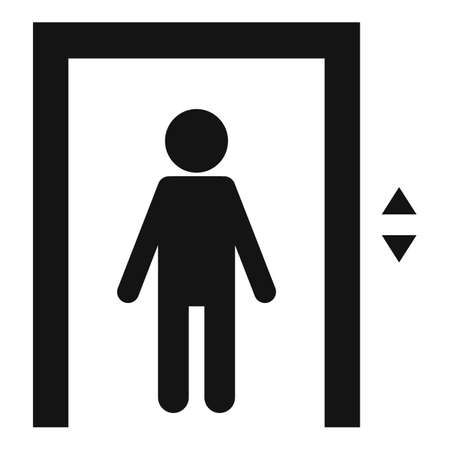 Kid in elevator icon, simple style