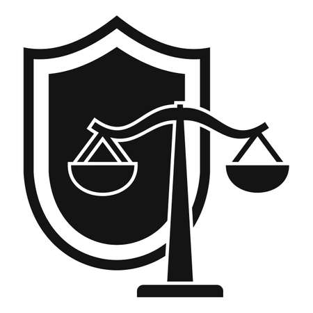 Justice balance shield icon, simple style