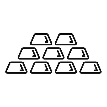Gold bar stack icon, outline style