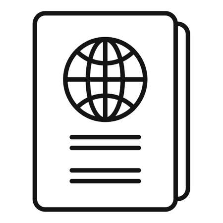 International passport icon, outline style