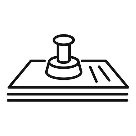 Justice paper stamp icon, outline style Stockfoto