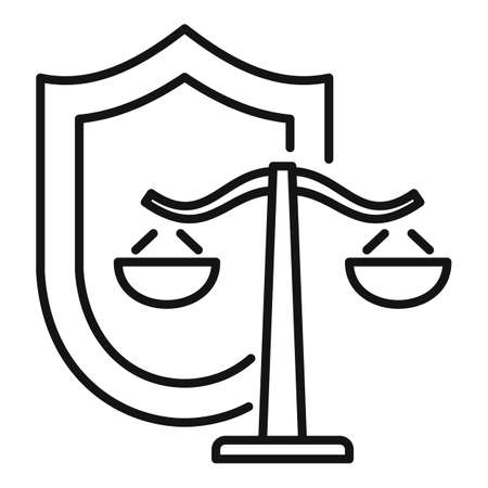 Justice balance shield icon, outline style