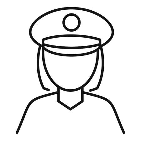 Police woman icon, outline style