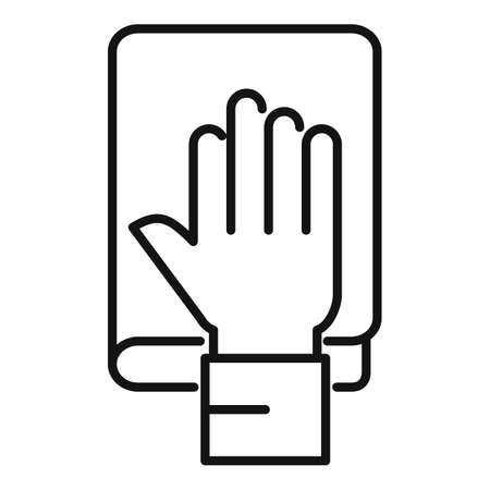 Hand judge book icon, outline style Stockfoto