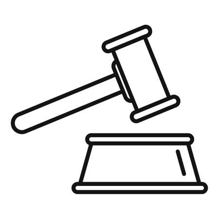 Judge gavel icon, outline style