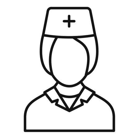 Nurse character icon, outline style 免版税图像