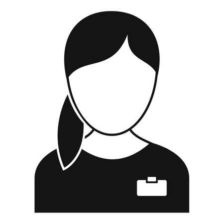 Girl nurse icon, simple style 免版税图像