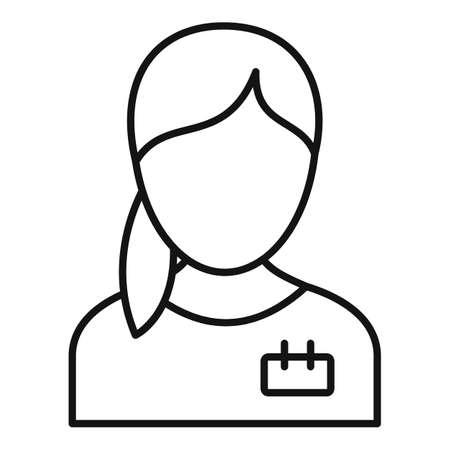 Girl nurse icon, outline style