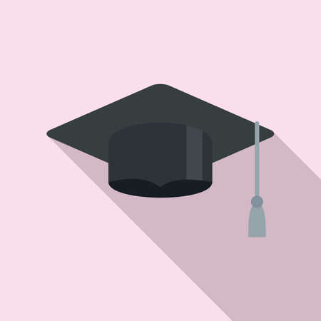 Graduated hat icon, flat style 版權商用圖片