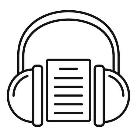 Headphones audio lesson icon, outline style 版權商用圖片