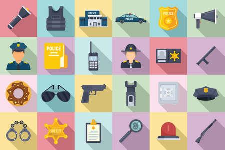 Police station icons set, flat style