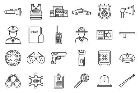 Police station equipment icons set, outline style