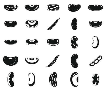 Kidney bean food icons set, simple style