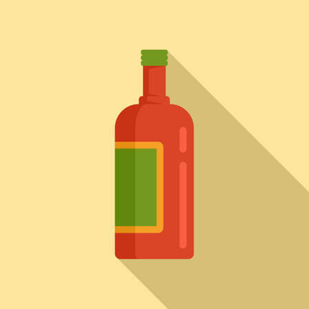 Tequila bottle icon, flat style