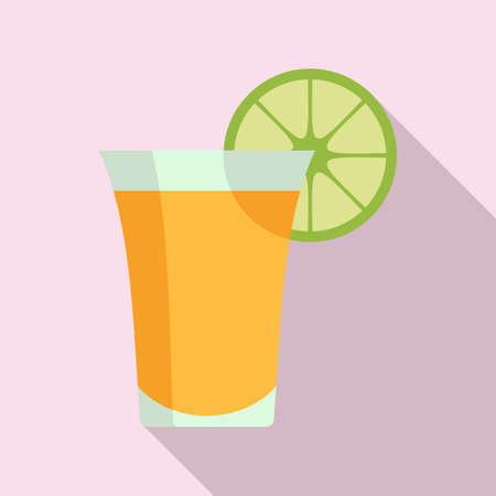 Tequila cocktail icon, flat style