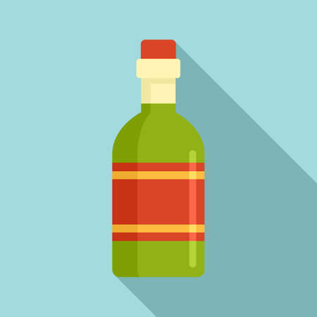 Tequila drink bottle icon, flat style