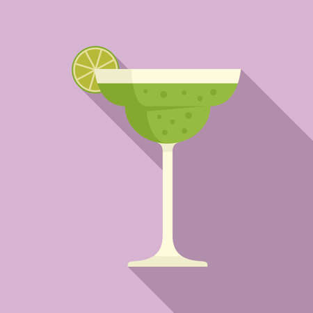 Tequila lime cocktail icon, flat style