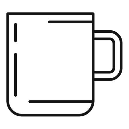 Camping steel cup icon, outline style 版權商用圖片