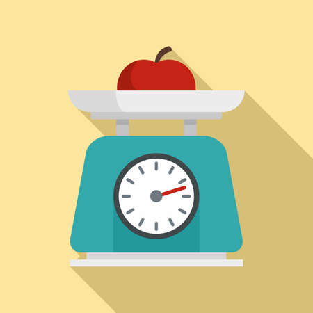 Fruit on kitchen scales icon, flat style