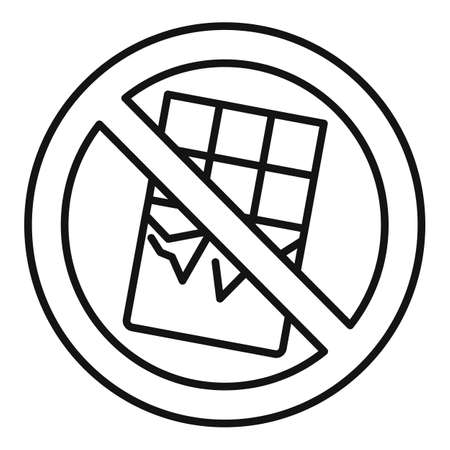 No chocolate bar icon, outline style