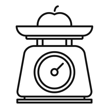 Fruit kitchen scales icon, outline style