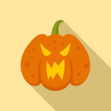 Halloween pumpkin icon, flat style