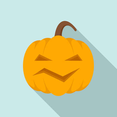 Carving pumpkin icon, flat style