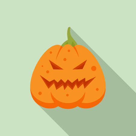 Smile pumpkin icon, flat style