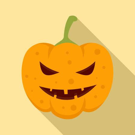Lantern pumpkin icon, flat style 免版税图像